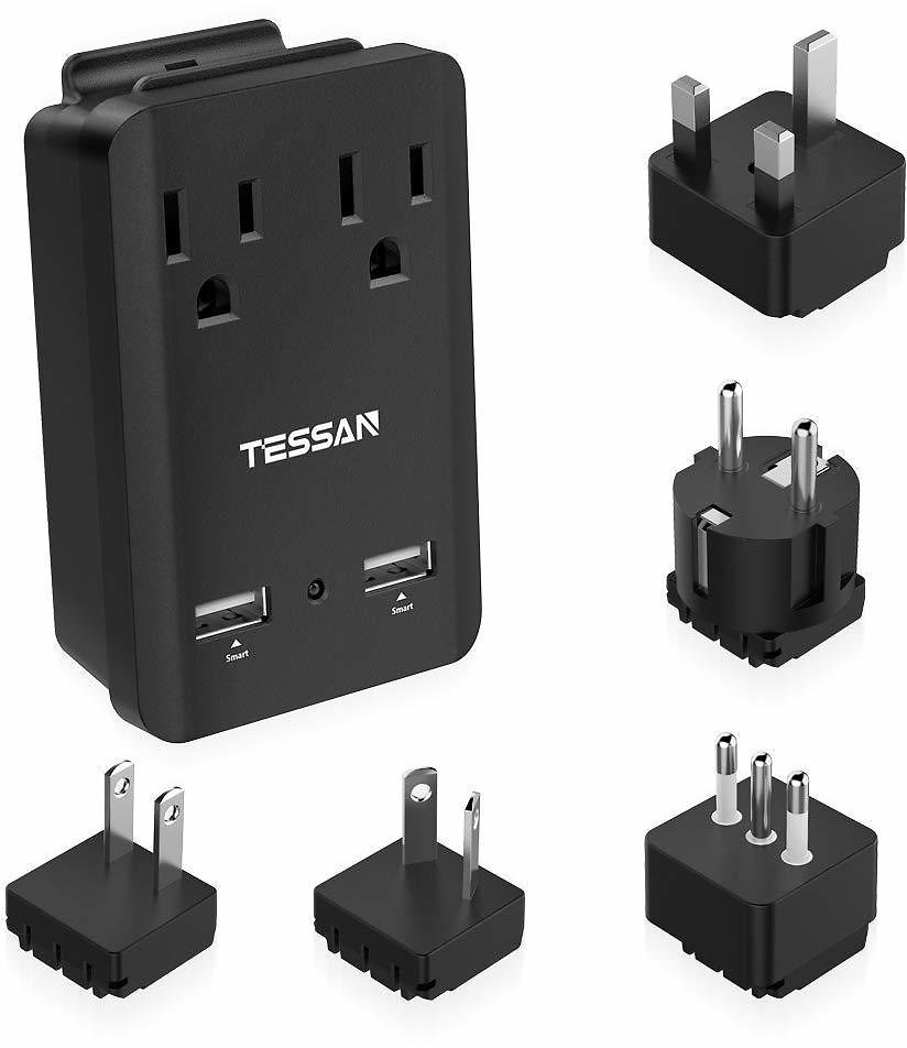TESSAN International Travel Adapter Kit, Universal Power Adapter 2 Outlets 2 USB, 4-in-1 Electrical Adaptor US to Europe UK Italy France China Japan: Electronics