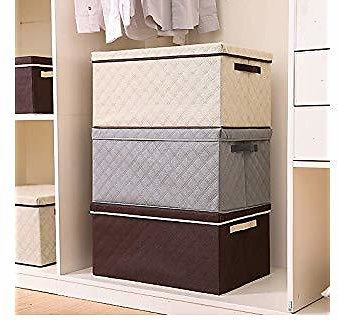 MOCOFO Larger Storage Cubes,4-Pack Linen Fabric Foldable Collapsible Storage Cube Bin Organizer Basket with Lid, Handles, Removable Divider for Home, Office, Nursery, Closet (3 Colors 15.75'')