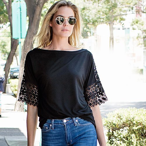 Swept Away With Summer Tops: S-3X Black Mesh-Inset Bell-Sleeve Top - Women & Plus