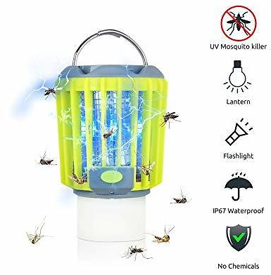 ERAVSOW Bug Zapper & LED Camping Lantern & Flashlight 3-in-1, Waterproof Rechargeable Mosquito Killer, Portable Compact Camping