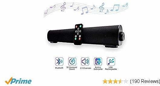 Bluetooth Sound Bar 16.9 Inches Portable Wireless Speakers for Home Theater Surround Sound with Built-in Subwoofers for TV/PC/Phones/Tablets with Remote Control