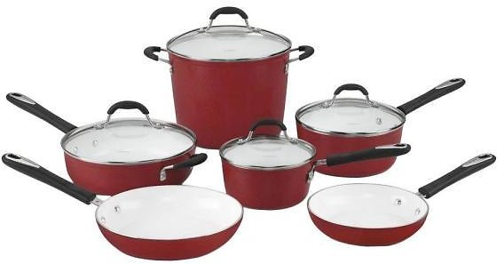 Cuisinart 10-Piece Red Cookware Set with Lids 59-10R