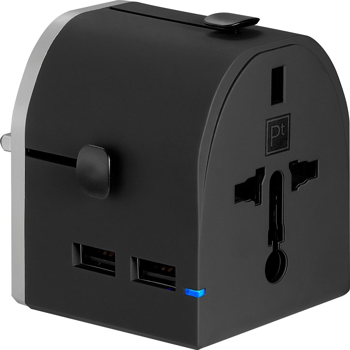 Platinum All-in-One Travel Adapter with 2 USB Ports Black PT-MUTA2U