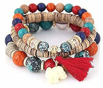 TelDen Women Fashion Wood Beads Bracelets Boho Small Elephant Charm Bracelets Set Vintage Style Jewelry Strand