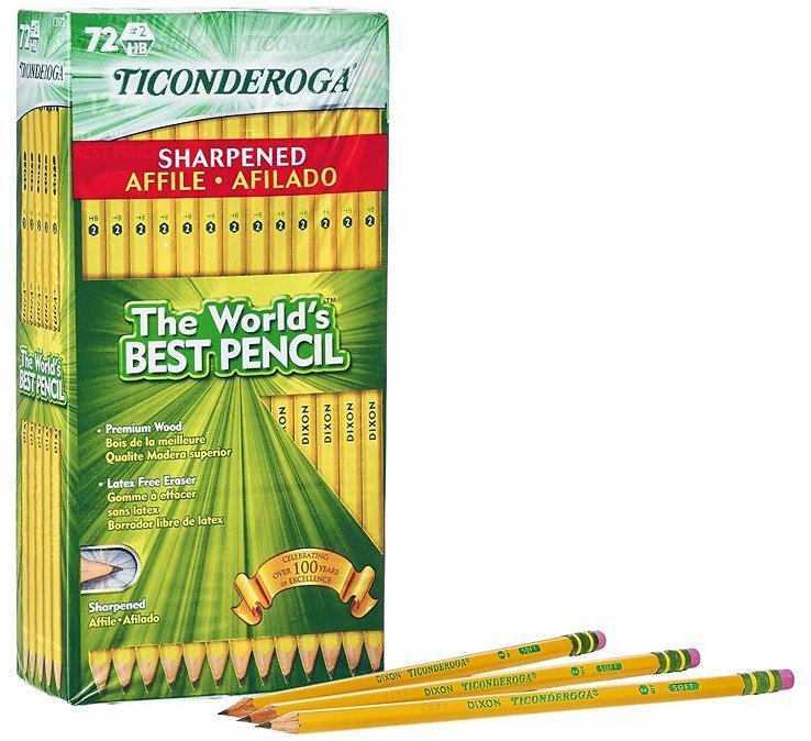 72 pack TICONDEROGA Pencils, Wood-Cased #2 HB Soft, Pre-Sharpened with Eraser, Yellow