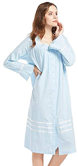 50% Off Poseca Women's Cotton Long Pajamas Bell Sleeve Nightgown Button Down Loose Nightdress