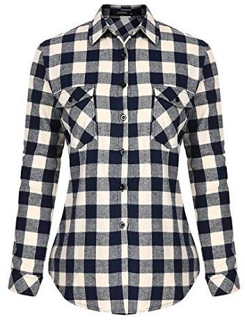 Womens Casual Button Down Plaid Shirts Roll Up Long Sleeve Loose Blouse Tops with Front Pockets At Amazon Women's Clothing Store