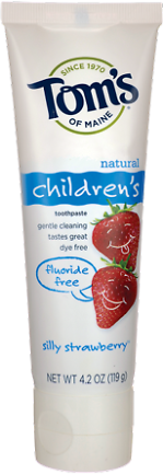 6-Pk Toms of Maine Silly Strawberry Fluoride-Free 4.2oz Toothpaste