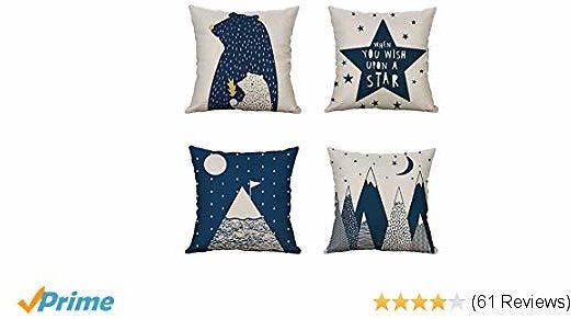 MOCOFO Decorative Throw Pillow Covers,Cartoon Beer,Star,Mountain 4 Packs Square Throw Pillow for Chair, Deco Indoor,18 X 18 Inches