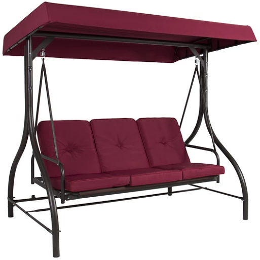 (Ships Free) 3-Seat Outdoor Canopy Swing Glider Furniture w/ Convertible Flatbed Backrest