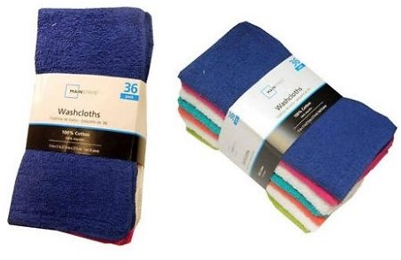 Mainstays Cotton Washcloth Collection Multi-Packs
