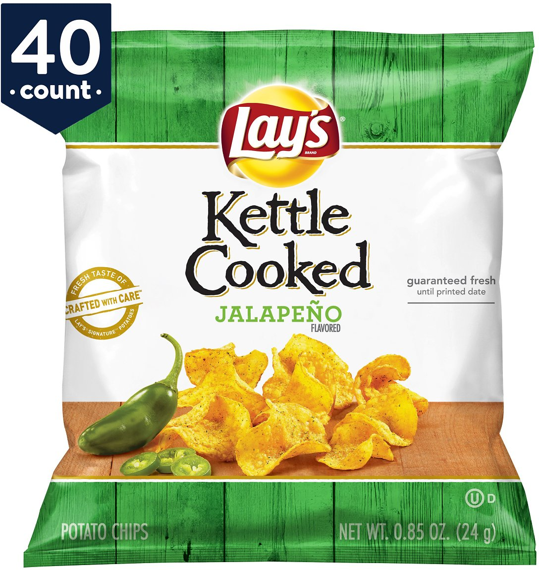 Lay's Kettle Cooked Potato Chips Snack Pack, Jalapeno, 0.85 Oz Bags / 40 Count