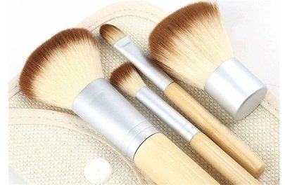 4 Piece Pro Makeup Kabuki Brushes Cosmetic Blush Brush Foundation Powder Kit Set