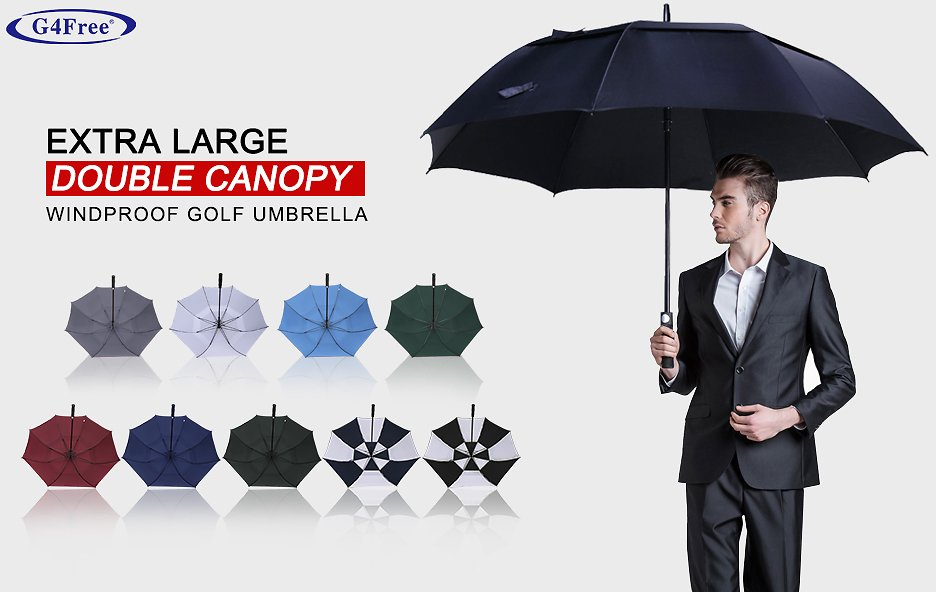 G4Free 54/62/68 Inch Automatic Open Golf Umbrella Extra Large Oversize Double Canopy Vented Windproof Waterproof Stick Umbrellas : Sports & Outdoors