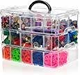 SnapCube Stackable Arts & Crafts Case, 3-Tier Clear Stackable Storage Box with Compartments, On-The-Go Craft Keeper, Jewelry Box, Bead Organizer Case, Kids Jewellery Box w/ Dividers, Tool Storage Box: Toys & Games