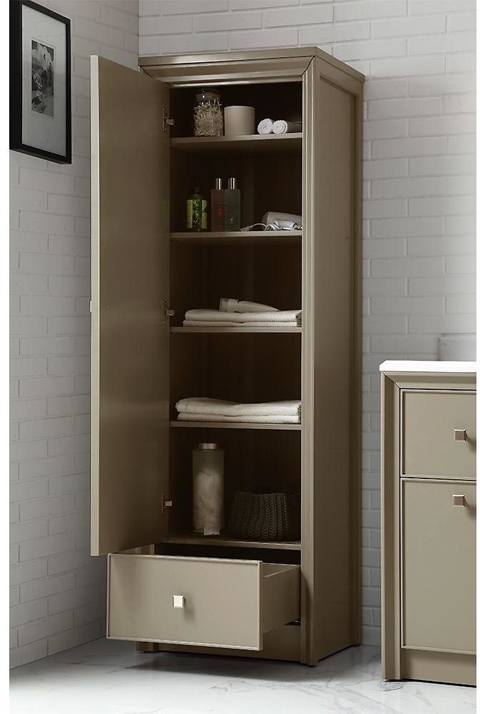 Parrish 22-1/2 In. W 1-Door and 1-Drawer Tall Side Unit in Mushroom