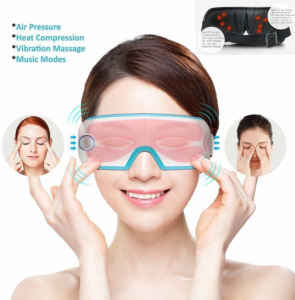 Electric Eye Massager with Heat Music Air Pressure Vibration, Wireless Portable Intelligence Eye Temple Massager Machine for Eye