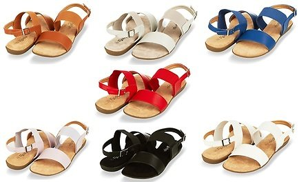 Floopi Women's Open-Toe Flat Summer Sandals with Elastic Ankle Strap