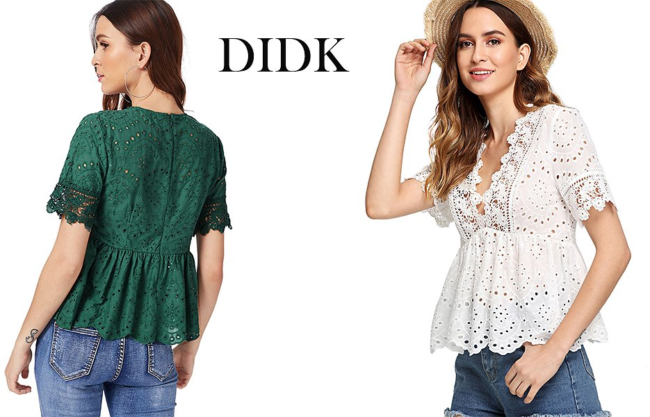 DIDK Women's Sexy Lace Peplum Top