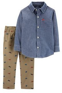 Carter's® Baby Boys 2-Piece Chambray Button-Front Top and Schiffli Pant Set