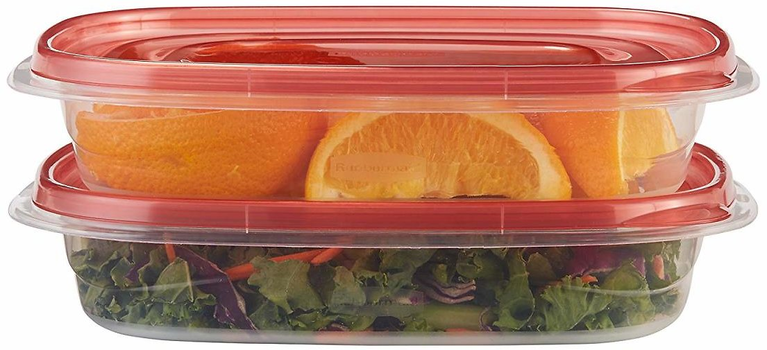 Rubbermaid TakeAlongs Rectangular Food Storage Containers, 4 Cup, Tint Chili, 2 Count FG7F70RETCHIL