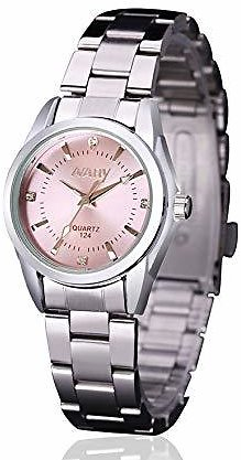 Women Lady Dress Analog Quartz Watch with Stainless Steel Band, Pink