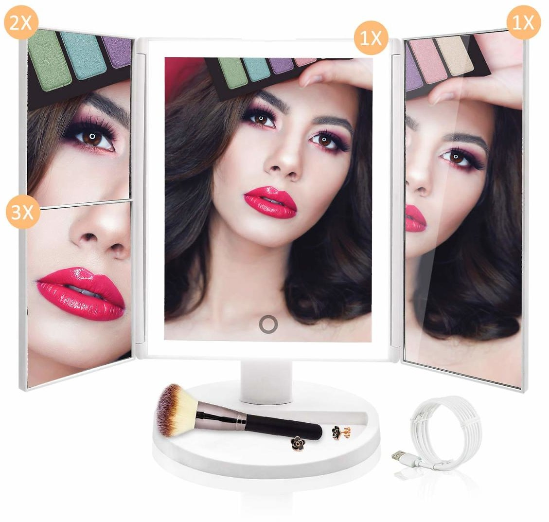 Lighted Vanity Makeup Mirror - Upgraded 36 LED Natural Daylight Trifold Cosmetic Mirror, with HD X1 X2 X3 Magnification, Dimmable Lighting, Dual Power Supply, Best Birthday Gift for Women Teen Girls : Beauty