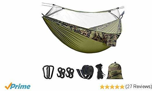 Hieha Double Camping Hammock with Mosquito/Bug Net, Outdoor Indoor Camping Hammock for 2 Adults, Portable Lightweight Camping Hammock for Backpacking Survival Travel Hiking and More