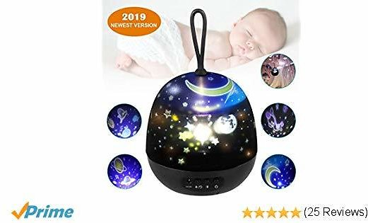 Star Projector Night Light for Kids, Johgee 360 Degree Rotating Black Star Night Light with 4 Sets of Film, 4 LED Bulbs, 9 Lighting Effects and 3.2FT USB Cable for Kids Bedroom/Birthday Party