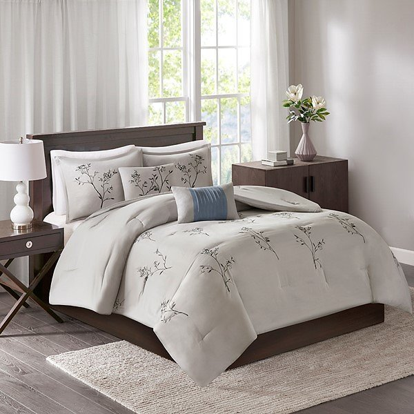 Katia 5 Piece Embroidered Floral Comforter Set By 510 Design - Designer Living