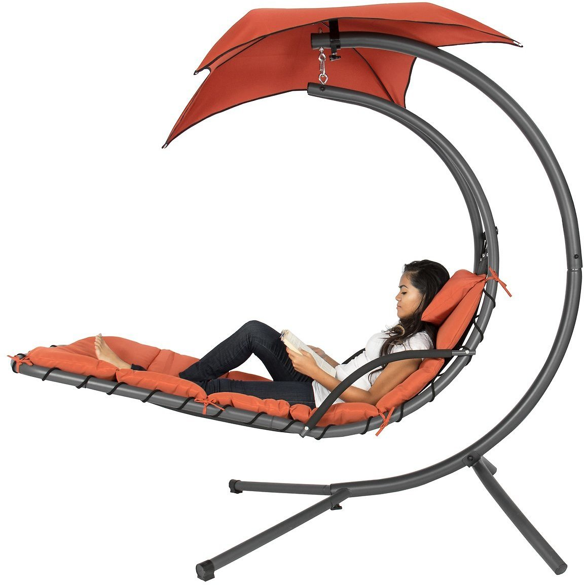 (Ships Free) Hanging Curved Chaise Lounge Chair w/ Built-In Pillow, Removable Canopy