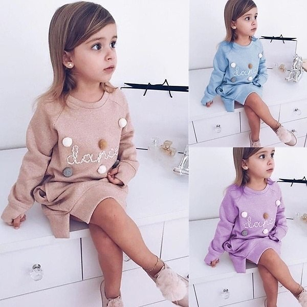 Toddler Baby Girls Kids Winter Long Sleeve Princess T-shirt Party Outfits Lovely Baby Girl Clothes