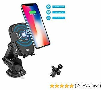 Soluser Wireless Car Charger Automatic Infrared Car Mount Induction Car Charging Holder Fast Wireless Phone Holder Air Vent Charging Bracket Compatible with All Qi-Enabled Phones