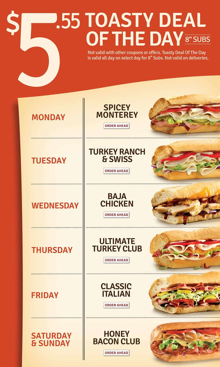 Quiznos Toasty Deal of The Day Menu- 8 in Sub for $5.55