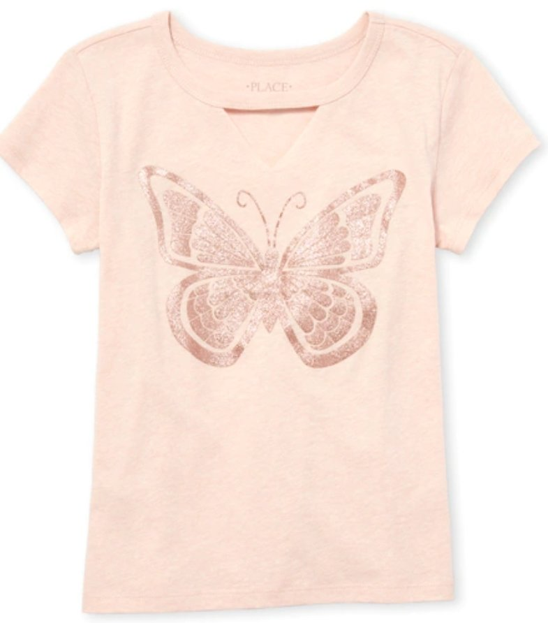 Girls Glitter Butterfly Cut Out Graphic Tee