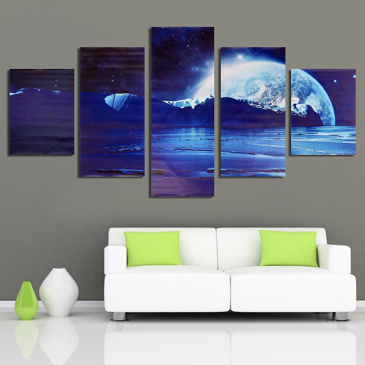 4/5 Pcs Frameless Canvas Prints Pictures, Morden Abstract Paintings + F/S
