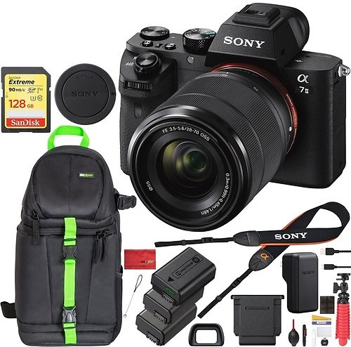 Sony Alpha A7 II Mirrorless Camera 28-70mm Lens 128GB Memory Extra 2x Battery Bundle