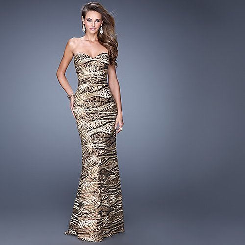 Up to 75% off La Femme Fashion & More Glitter Sweetheart Gown - Women