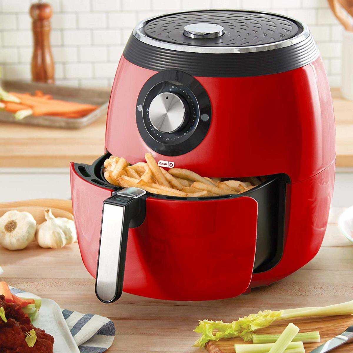 Dash 6Qt. Deluxe Electric Air Fryer + Oven Cooker with with Temperature Control, Red