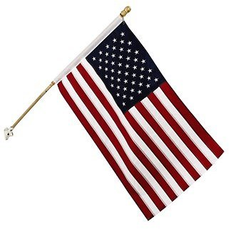 American Flag with 5' Wooden Pole (In Store)