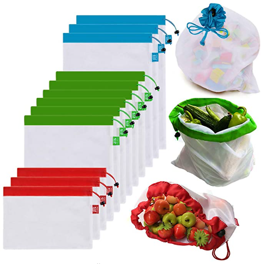 Reusable Mesh Produce Bags Premium (Set of 12)