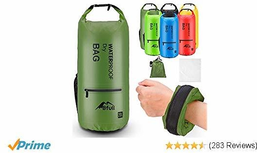 Up to 60% Off Waterproof Dry Bag 10L/20L [Lightweight Compact] Roll Top Water Proof Backpack 2 Exterior Zip Pocket Kayaking