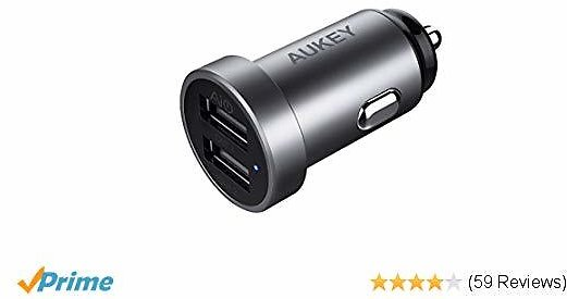 AUKEY 24W/4.8A Dual-Port USB Car Charger, Aluminum Alloy Finish for IPhone Xs/XS Max/XR/X/8, IPad Pro/Air 2/Mini, Bluetooth Headphones & Speakers,Samsung Galaxy Note9 and More