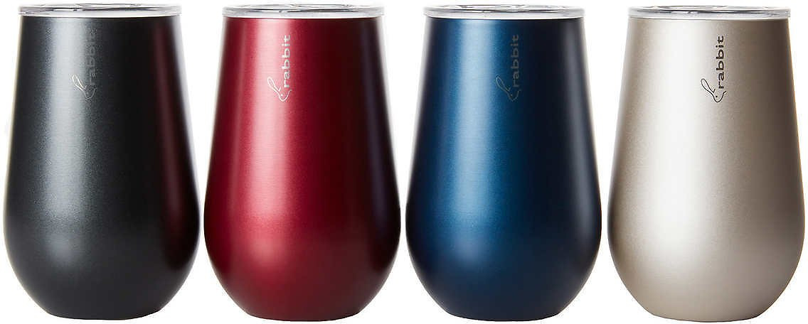 4-Pack, Rabbit Double Wall Stainless Steel Wine Tumbler Set