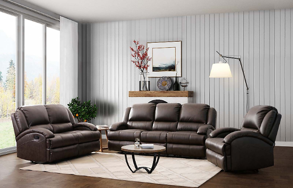 Abbyson Living 3-Pc. Leather Reclining Sofa Set + F/S