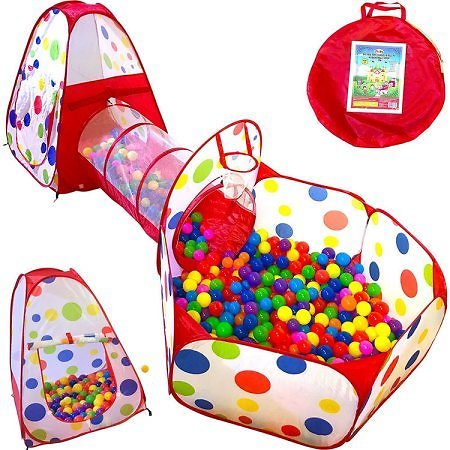 3pc Kids Play Tent Crawl Tunnel and Ball Pit Popup Bounce Playhouse Tent with Basketball Hoop