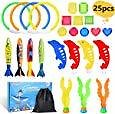 LEEHUR 25pcs Pool Toys for Kids Summer Outdoors Party Favor Swimming Under Water Diving Set Diving Rings Water Torpedo Bandits Diving Dolphin Water Grass Pirate Treasures Storage Bag: Toys & Games