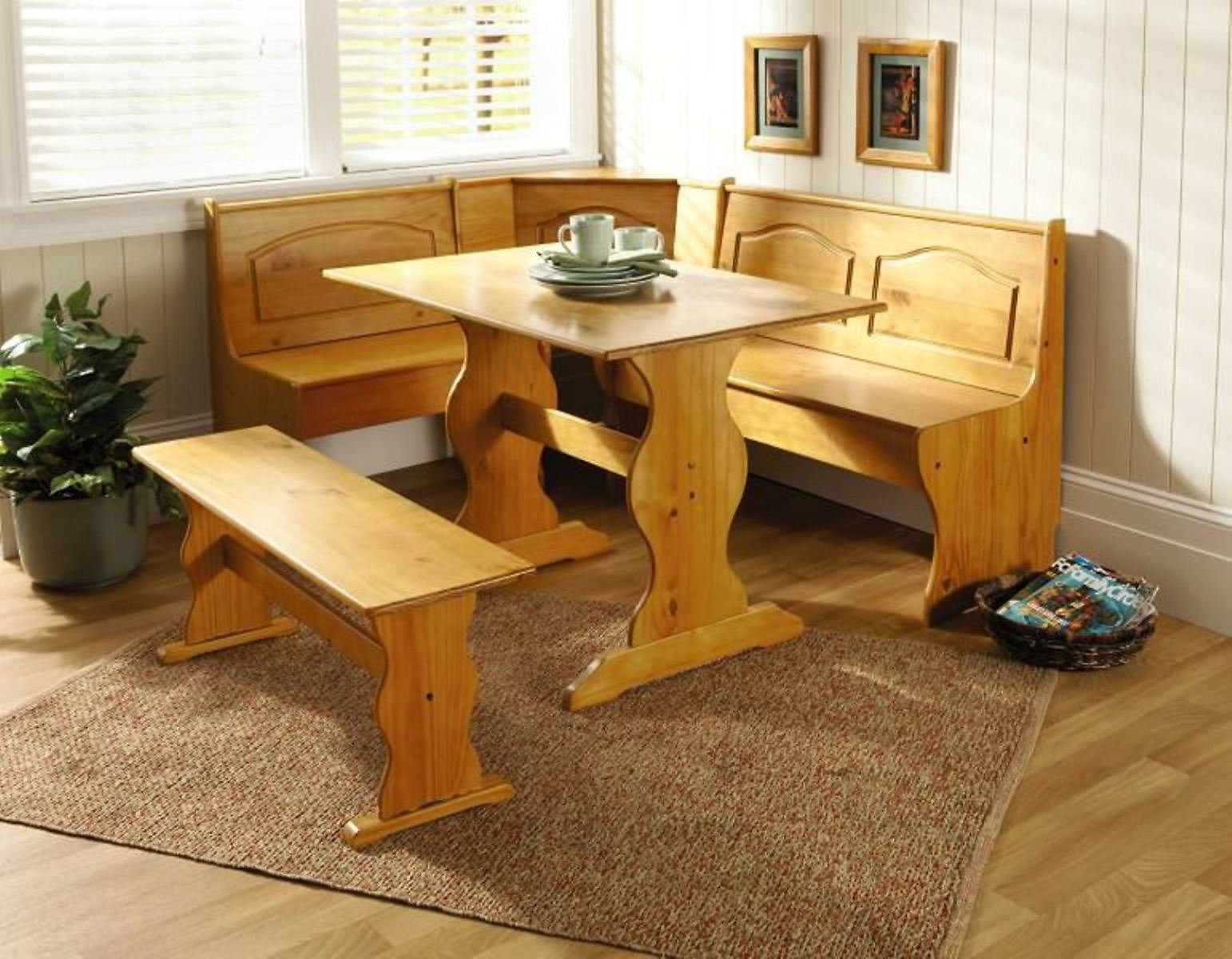 Essential Home Essential Home 3 Piece Emily Breakfast Nook in Pine