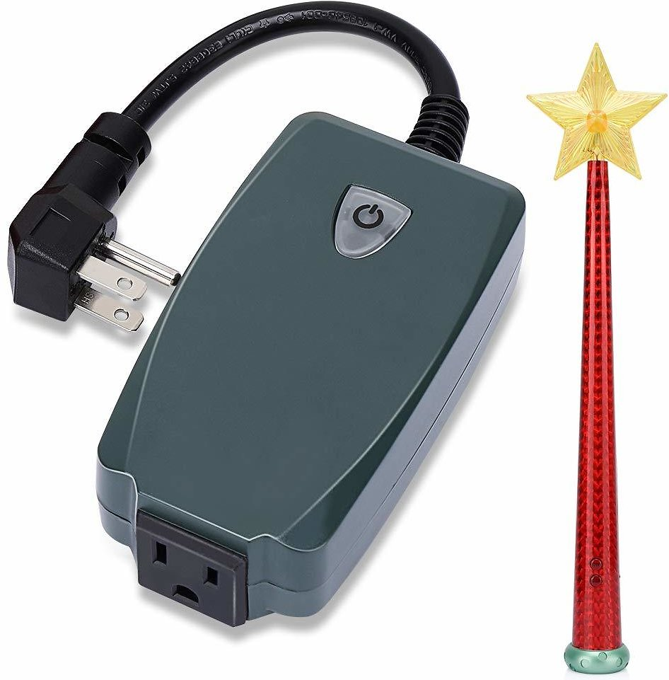 Wireless Remote Control Outlet with Magic Wand, Wireless Remote Switch for Christmas Tree and Decorative Lights Indoor/Outdoor,