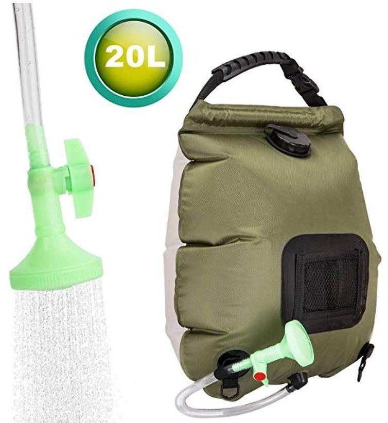 Solar Shower Bag for Camping 5 Gallons/20L Summer Shower Bag with Removable Hose and On-Off Switchable Shower Head Outdoor